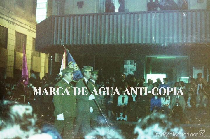 MILITARES EN UN DESFILE PROCESIONAL DE LA SEMANA SANTA DE MÁLAGA. CLICHÉ-NEGATIVO ORIGINAL (Fotografía Antigua - Diapositivas)