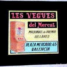Fotografia antica: DIAPOSITIVA PARA CINE ,PUBLICIDAD, CELULOIDE ,ANTIGUA , ORIGINAL, VALENCIA,BILLARES -AM. Lote 64925054