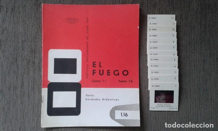 13 DIAPOSITIVAS CON LIBRETO - TEMÁTICA EL FUEGO - UNID. DIDÁCTICA CON ILUSTRACIONES DE ÉPOCA - 1967 (Fotografía Antigua - Diapositivas)