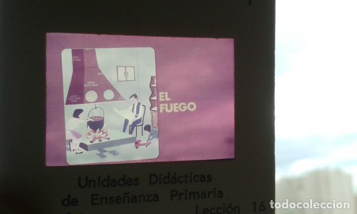 Fotografía antigua: 13 diapositivas con libreto - Temática El Fuego - Unid. didáctica con ilustraciones de época - 1967 - Foto 3 - 66280354