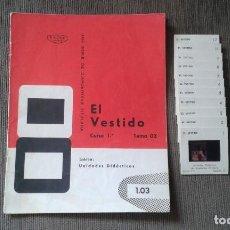 Fotografía antigua: 12 DIAPOSITIVAS Y LIBRETO - TEMÁTICA EL VESTIDO - UNID. DIDÁCTICA CON ILUSTRACIONES DE ÉPOCA - 1967 . Lote 66280618