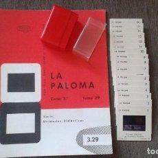 Fotografía antigua: 16 DIAPOSITIVAS Y LIBRETO - TEMÁTICA LA PALOMA- CON ILUSTRACIONES DE ÉPOCA - 1967 . Lote 66282346