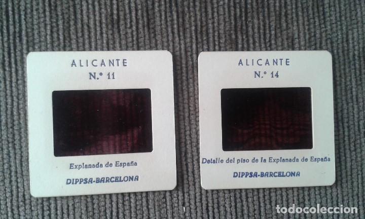 2 DIAPOSITIVAS -- ALICANTE CENTRO -- 2 DETALLES DE LA EXPLANADA -- ESPAÑA AÑOS 60 -- VER FOTOS -- (Fotografía Antigua - Diapositivas)