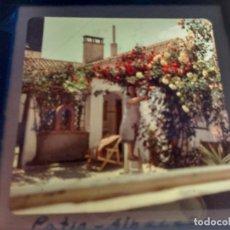 Fotografía antigua: ALBACETE, PATIO, ANTIGUA DIAPOSITIVA CON MARCO, GLAS LANTERN SLIDE, MEDIDAS 7 X 7 CM,. Lote 68322225