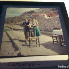 Fotografía antigua: CARCELEN, ALBACETE, ANTIGUA DIAPOSITIVA CRISTAL CON MARCO, GLAS LANTERN SLIDE, MEDIDAS 7 X 7 CM,. Lote 68726409