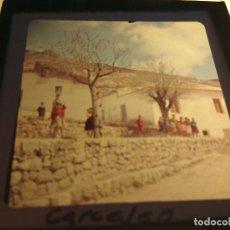 Fotografía antigua: CARCELEN, ALBACETE, ANTIGUA DIAPOSITIVA CRISTAL CON MARCO, GLAS LANTERN SLIDE, MEDIDAS 7 X 7 CM,. Lote 68726905
