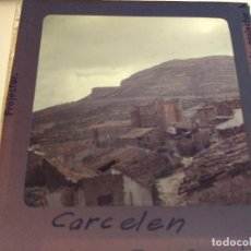 Fotografía antigua: CARCELEN, ALBACETE, ANTIGUA DIAPOSITIVA CRISTAL CON MARCO, GLAS LANTERN SLIDE, MEDIDAS 7 X 7 CM,. Lote 68727813