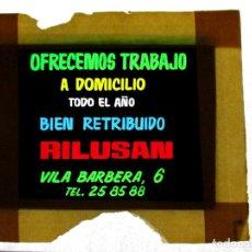 Fotografía antigua: DIAPOSITIVA PARA CINE ,PUBLICIDAD, CELULOIDE ,ANTIGUA , ORIGINAL, VALENCIA,TRABAJO-AO. Lote 79843605