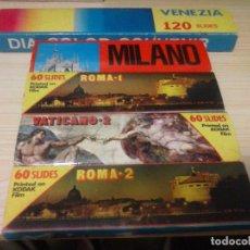 Fotografía antigua: LOTE DE 5 JUEGOS DE DIAPOSITIVAS (360 DIAPOSITIVAS) KODAK (ROMA, VENECIA, MILÁN Y VATICANO) + LIBRO. Lote 88929308