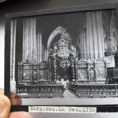 Fotografía antigua: ANTIGUA DIAPOSITIVA DE ZARAGOZA, LA SEO, AÑOS 20. Lote 93623200