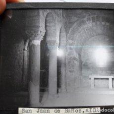 Fotografía antigua: DIAPOSITIVA ANTIGUA DE LA ERMITA DE SAN JUAN DE BAÑOS, PALENCIA. Lote 93623285