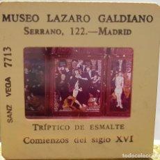 Fotografía antigua: == D13 - DIAPOSITIVA - MUSEO LAZARO GALDIANO - TRIPTICO DE ESMALTE. Lote 120044747