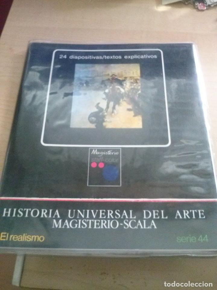 CARPETA CON 24 DIAPOSITIVAS DE HISTORIA UNIVERSAL DEL ARTE MAGISTERIO EL REALISMO SERIE44 (Fotografía Antigua - Diapositivas)