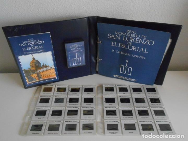 SAN LORENZO DE EL ESCORIAL. MINISTERIO DE CULTURA. 80 DIAPOSITIVAS + CASSETTE + LIBRO. AÑO 1984. (Fotografía Antigua - Diapositivas)
