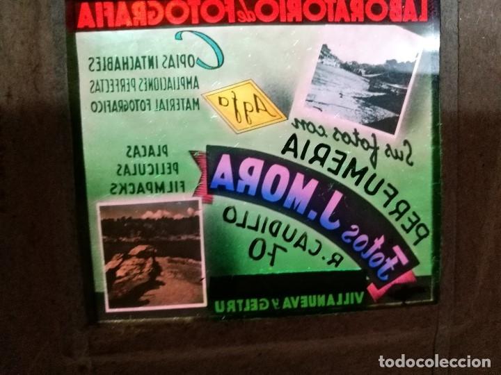 Fotografía antigua: diapositiva cristal publicidad salas de cine.perfumeria fotos j.mora villanueva y geltru 1942-REF-ML - Foto 5 - 149222326