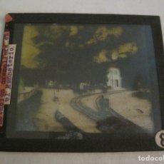 Fotografía antigua: MONTSERRAT-ESTACION FERROCARRIL-FOTOGRAFIA DIAPOSITIVA CRISTAL COLOREADA-VER FOTOS(V-17.765). Lote 179535537