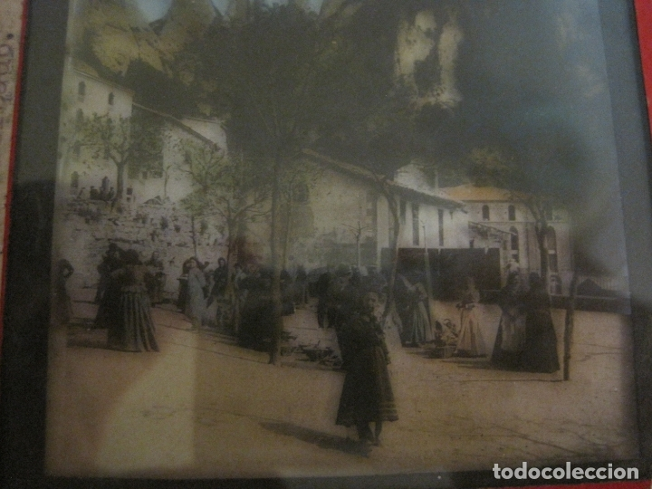 Fotografía antigua: MONTSERRAT-PLAZA MERCADO-FOTOGRAFIA DIAPOSITIVA CRISTAL COLOREADA-VER FOTOS(V-17.766) - Foto 3 - 179535748