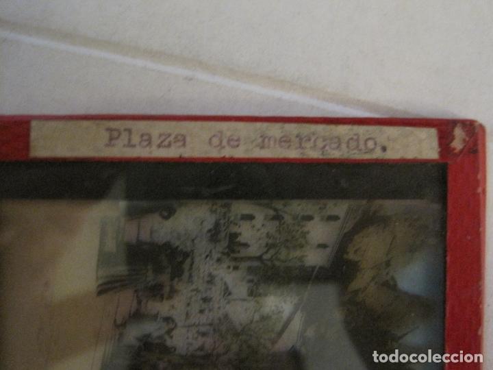 Fotografía antigua: MONTSERRAT-PLAZA MERCADO-FOTOGRAFIA DIAPOSITIVA CRISTAL COLOREADA-VER FOTOS(V-17.766) - Foto 4 - 179535748