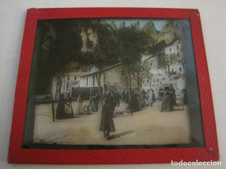 Fotografía antigua: MONTSERRAT-PLAZA MERCADO-FOTOGRAFIA DIAPOSITIVA CRISTAL COLOREADA-VER FOTOS(V-17.766) - Foto 5 - 179535748