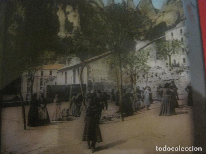 Fotografía antigua: MONTSERRAT-PLAZA MERCADO-FOTOGRAFIA DIAPOSITIVA CRISTAL COLOREADA-VER FOTOS(V-17.766) - Foto 6 - 179535748