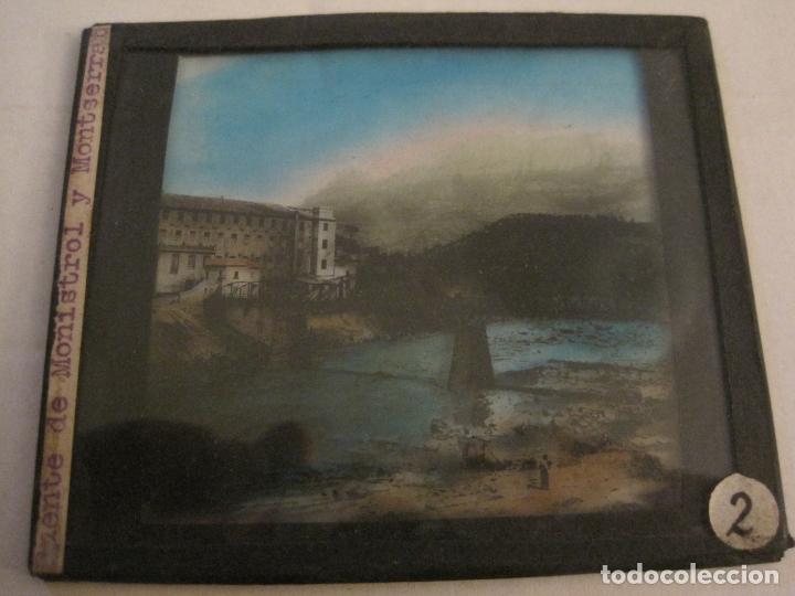 Fotografía antigua: MONTSERRAT-PUENTE DE MONISTROL-FOTOGRAFIA DIAPOSITIVA CRISTAL COLOREADA-VER FOTOS(V-17.767) - Foto 2 - 179536142