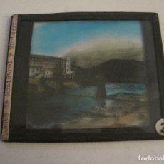 Fotografía antigua: MONTSERRAT-PUENTE DE MONISTROL-FOTOGRAFIA DIAPOSITIVA CRISTAL COLOREADA-VER FOTOS(V-17.767). Lote 179536142