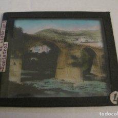 Fotografía antigua: MONTSERRAT-PUENTE DE MONISTROL-FOTOGRAFIA DIAPOSITIVA CRISTAL COLOREADA-VER FOTOS(V-17.768). Lote 179536438