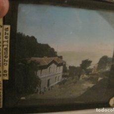 Fotografía antigua: MONTSERRAT-ESTACION FERROCARRIL-FOTOGRAFIA DIAPOSITIVA CRISTAL COLOREADA-VER FOTOS(V-17.772). Lote 179537013