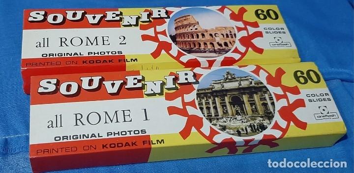 DIAPOSITIVAS ROMA SOUVENIR 2 VOLUMENES......COLECCION ANTIGUA DE 120 DIAPOSITIVAS.. (Fotografía Antigua - Diapositivas)