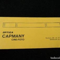 Fotografía antigua: CARPETA CON DOCE NEGATIVOS 6 X 6 CM DE OPTICA CAPMANY BARCELONA. Lote 196246382