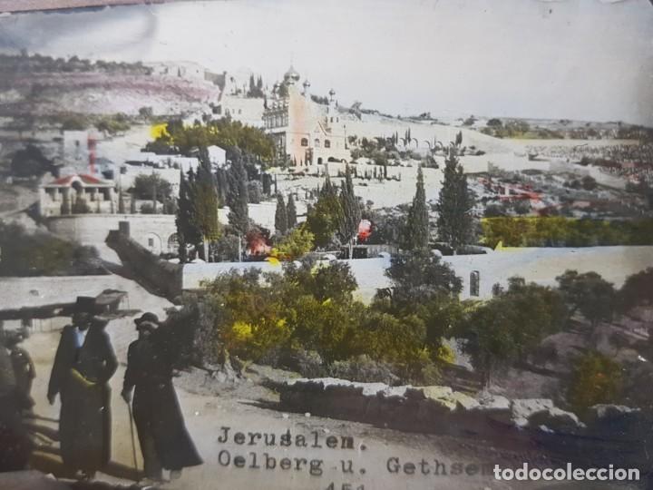 DIAPOSITIVA EN CRISTAL DE JERUSALEN PRINCIPIOS 1900 COLOREADA ESPECTACULAR (Fotografía Antigua - Diapositivas)