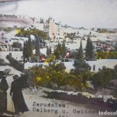 Fotografía antigua: DIAPOSITIVA EN CRISTAL DE JERUSALEN PRINCIPIOS 1900 COLOREADA ESPECTACULAR. Lote 203095453