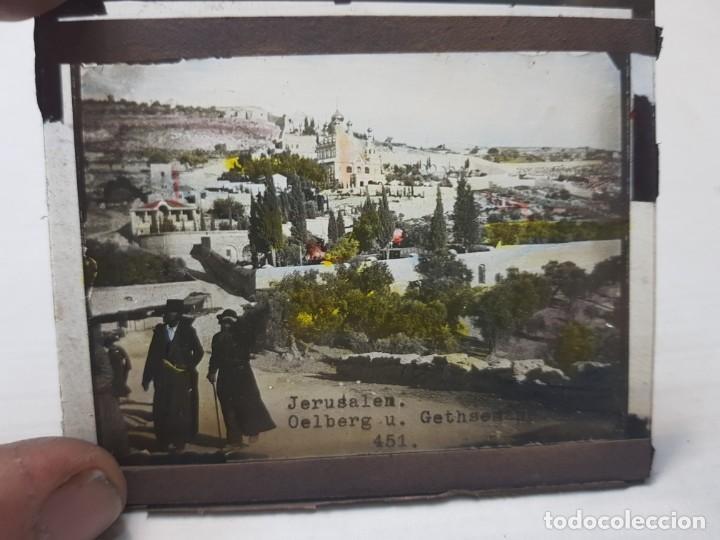 Fotografía antigua: Diapositiva en Cristal de Jerusalen principios 1900 coloreada espectacular - Foto 2 - 203095453