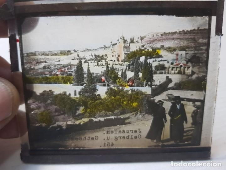 Fotografía antigua: Diapositiva en Cristal de Jerusalen principios 1900 coloreada espectacular - Foto 3 - 203095453