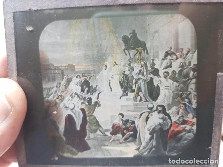 Fotografía antigua: Diapositivas en Cristal de Jesus lote 13 principios 1900 coloreada espectaculares - Foto 4 - 203166080