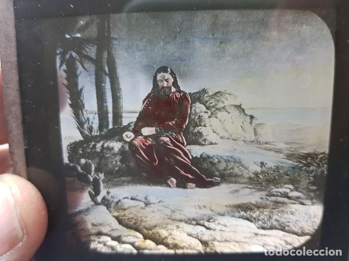 Fotografía antigua: Diapositivas en Cristal de Jesus lote 13 principios 1900 coloreada espectaculares - Foto 6 - 203166080