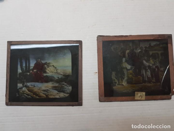 Fotografía antigua: Diapositivas en Cristal de Jesus lote 13 principios 1900 coloreada espectaculares - Foto 19 - 203166080