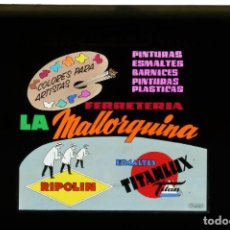 Fotografía antigua: DIAPOSITIVA DE CRISTAL PUBLICIDAD TITANLUX - FERRETERIA LA MALLORQUINA. Lote 204347207