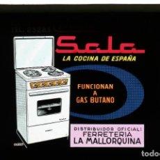 Fotografía antigua: DIAPOSITIVA DE CRISTAL PUBLICIDAD SALA - FERRETERÍA LA MALLORQUINA. Lote 204351255