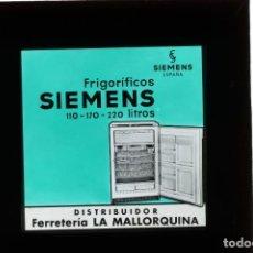 Fotografía antigua: DIAPOSITIVA DE CRISTAL PUBLICIDAD FRIGORIFICO SIEMENS. Lote 204356360