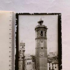 Fotografía antigua: PLACA CRISTAL. POSITIVO. EL FADRI. TORRE JUNTO CATEDRAL. COMIENZOS S. XX. FOTÓGRAFO?.. Lote 241903730