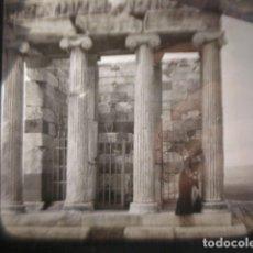 Fotografía antigua: GRECIA ATENAS TEMPLO DE LAS VICTORIAS CRISTAL PARA LINTERNA MAGICA - FINALES SIGLO XIX. Lote 262494260