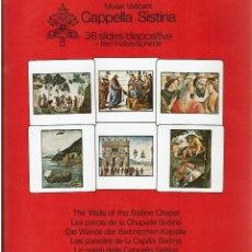 Fotografía antigua: 36 DIAPOSITIVAS DE LOS MUROS DE LA CAPILLA SIXTINA CON TEXTOS EXPLICATIVOS. Lote 270357083
