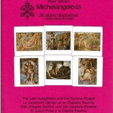 Fotografía antigua: 36 DIAPOSITIVAS DEL JUICIO FINAL DE LA CAPILLA SIXTINA CON TEXTOS EXPLICATIVOS. Lote 270357533