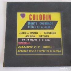 Fotografia antica: PUBLICIDAD DIAPOSITIVA ORIGINAL PROYECCION CINE COLORIN JARDIN INFANCIA PUEBLA VALLBONA VALENCIA RV. Lote 292293708