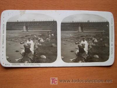 EL TURISMO PRÁCTICO - Nº 2 - GERONA - PUENTE SOBRE EL TER (Fotografía Antigua - Estereoscópicas)