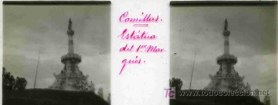 FOTO ESTEREOSCOPICA CRISTAL 45X105 ESTATUA DEL MARQUES, COMILLAS (Fotografía Antigua - Estereoscópicas)