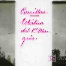 Fotografía antigua: FOTO ESTEREOSCOPICA CRISTAL 45X105 ESTATUA DEL MARQUES, COMILLAS. Lote 4787736