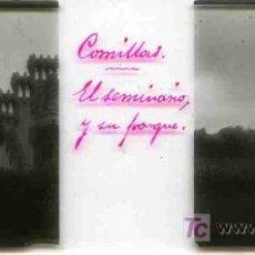 Fotografía antigua: FOTO ESTEREOSCOPICA CRISTAL 45X105 EL SEMINARIO Y SU PARQUE, COMILLAS. Lote 4787745