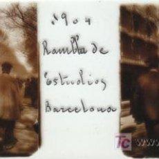 Old photograph - FOTOGRAFIA ESTEREOSCOPICA TAMAÑO 105X45 BARCELONA RAMBLA DE ESTUDIOS, AÑO 1904 - 7518675